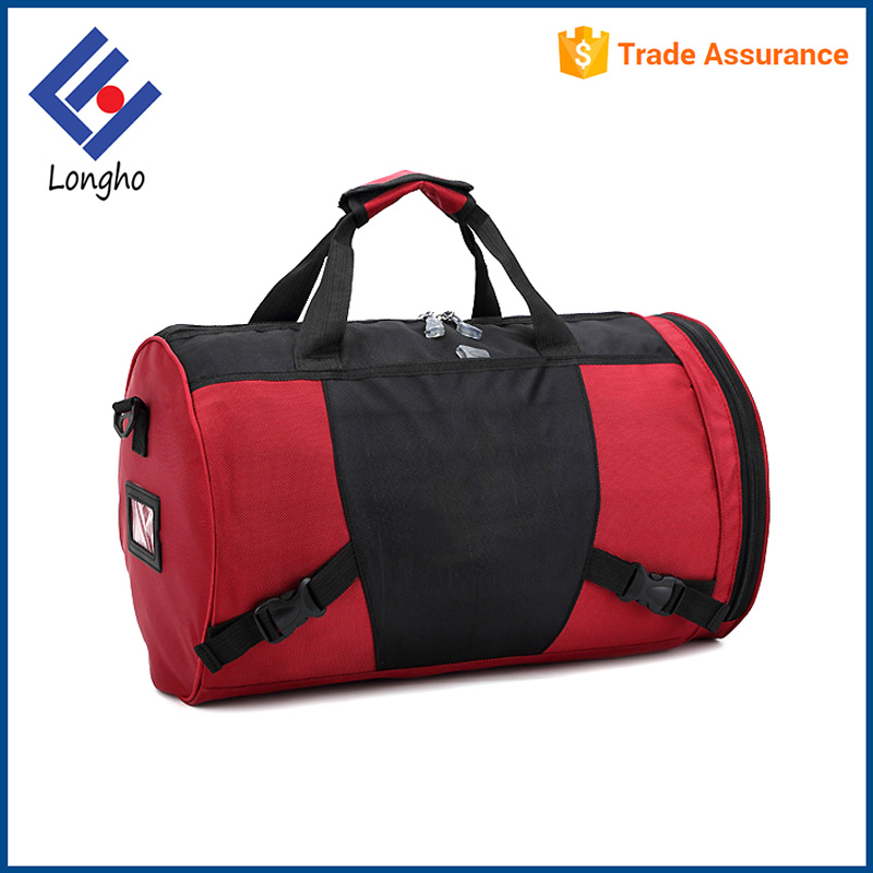 New fashion gym sports dance duffle bag 2 front buckles wholesale barrel duffel bag with shoe pocket