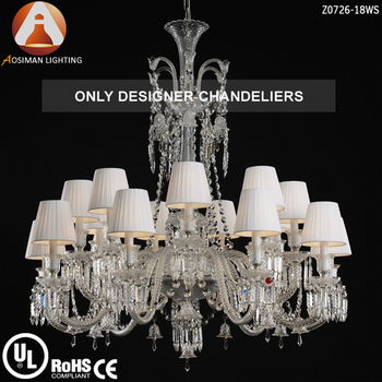 18 Light French Lustre Cristal With White Lampshade Buy Lustre