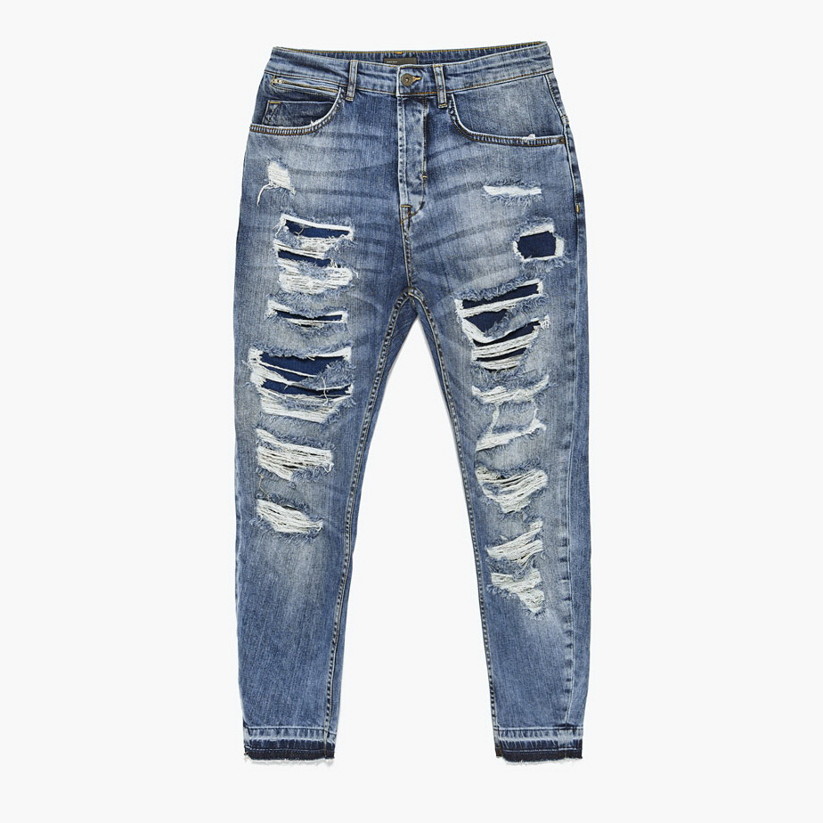 mens new design ripped denim jeans with holes