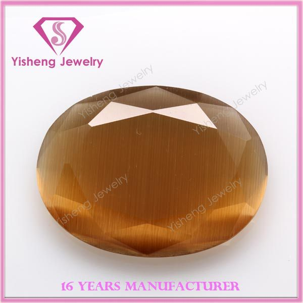 High Quality Oval Shape Faceted Cut Synthetic Cat Eye Gem Stone Buyer