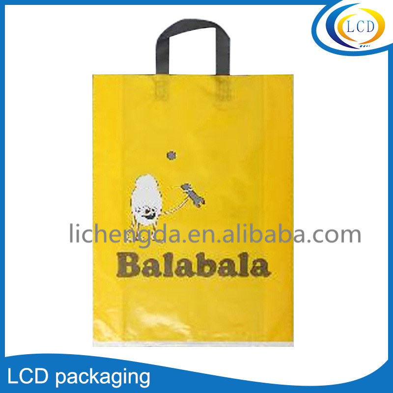 Hot sale yellow soft loop handle plastic shopping bags packaging bag