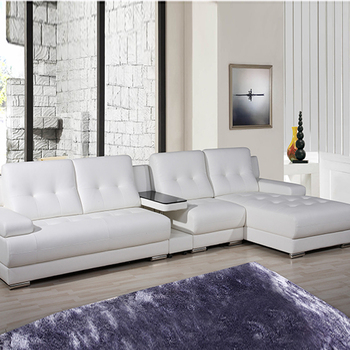 2017 New Design Chinese Factory Relaxing Living Room White Leather Sofas Furniture
