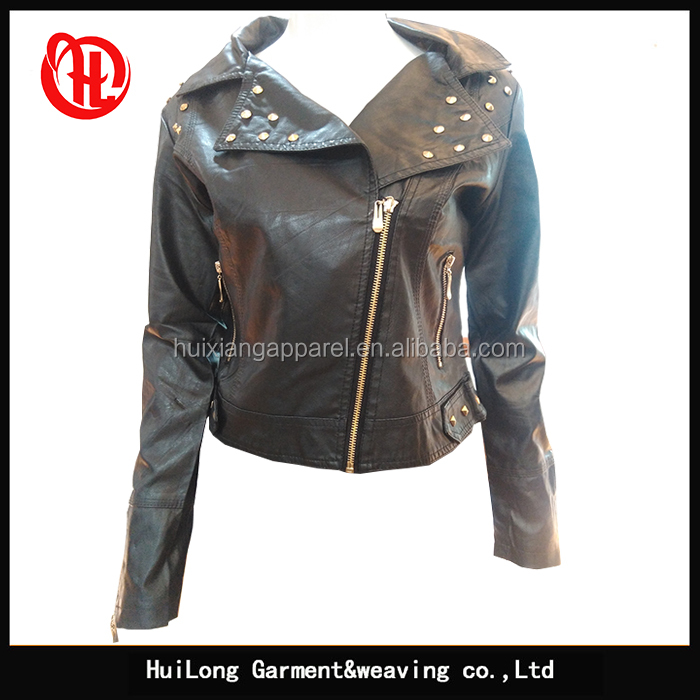 Stock tide ladies black pu leather jackets