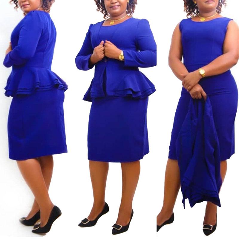 81212-MX74 latest 2 piece set ruffles office lady dress фото