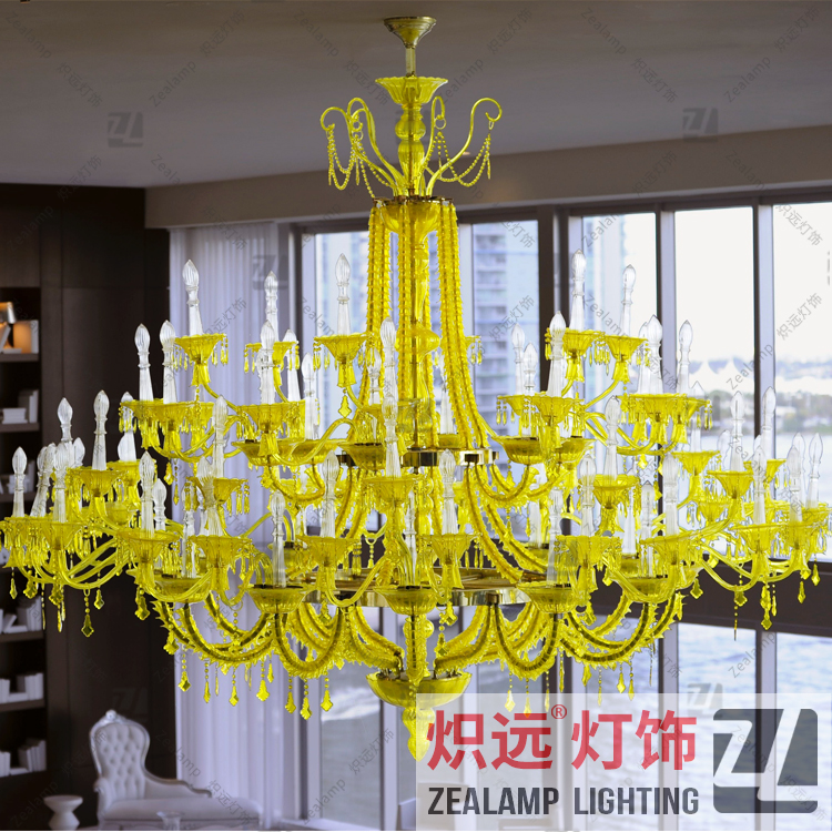 Zlz049c Modern Handmade Glass Chandelier Yellow Crystal For Villa Lounge And Guestroom
