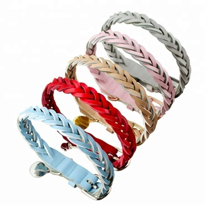 Wholesales Making Weave Bling Accessory Decorative Genuine Leather Soft Braid Pet Dog Collar