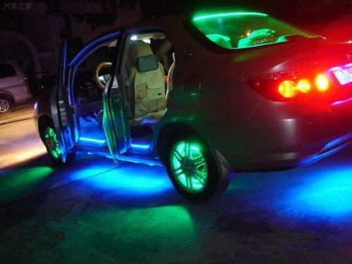 12 В 72 см 72 светодиоды водонепроницаемый гибкая полосы света для авто, 5 цвета