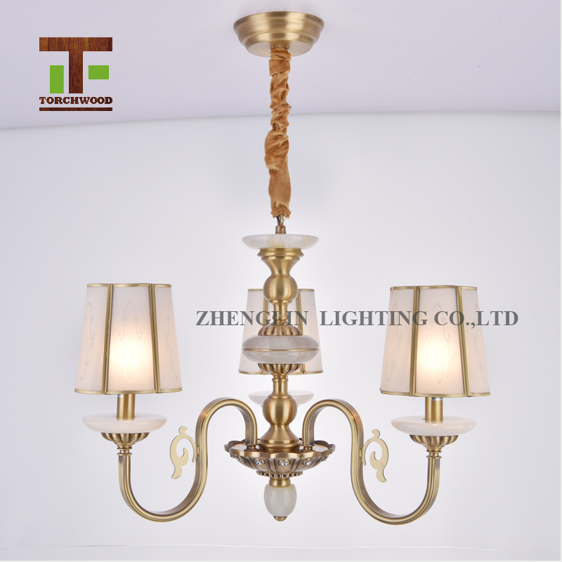 New design simple style modern three lights natural jade brass giant chandelier