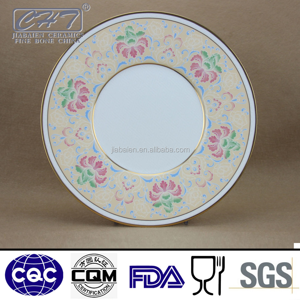 "Fine bone china 12"" display gold rimmed dinner plates with microgroove design"