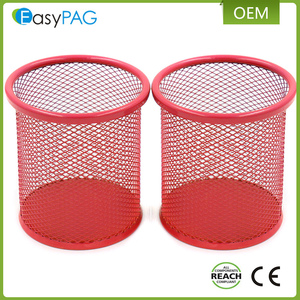 EasyPAG 2 PCs 3.5 inch Rose Red Round Metal Mesh Steel Pen Pencil Holder