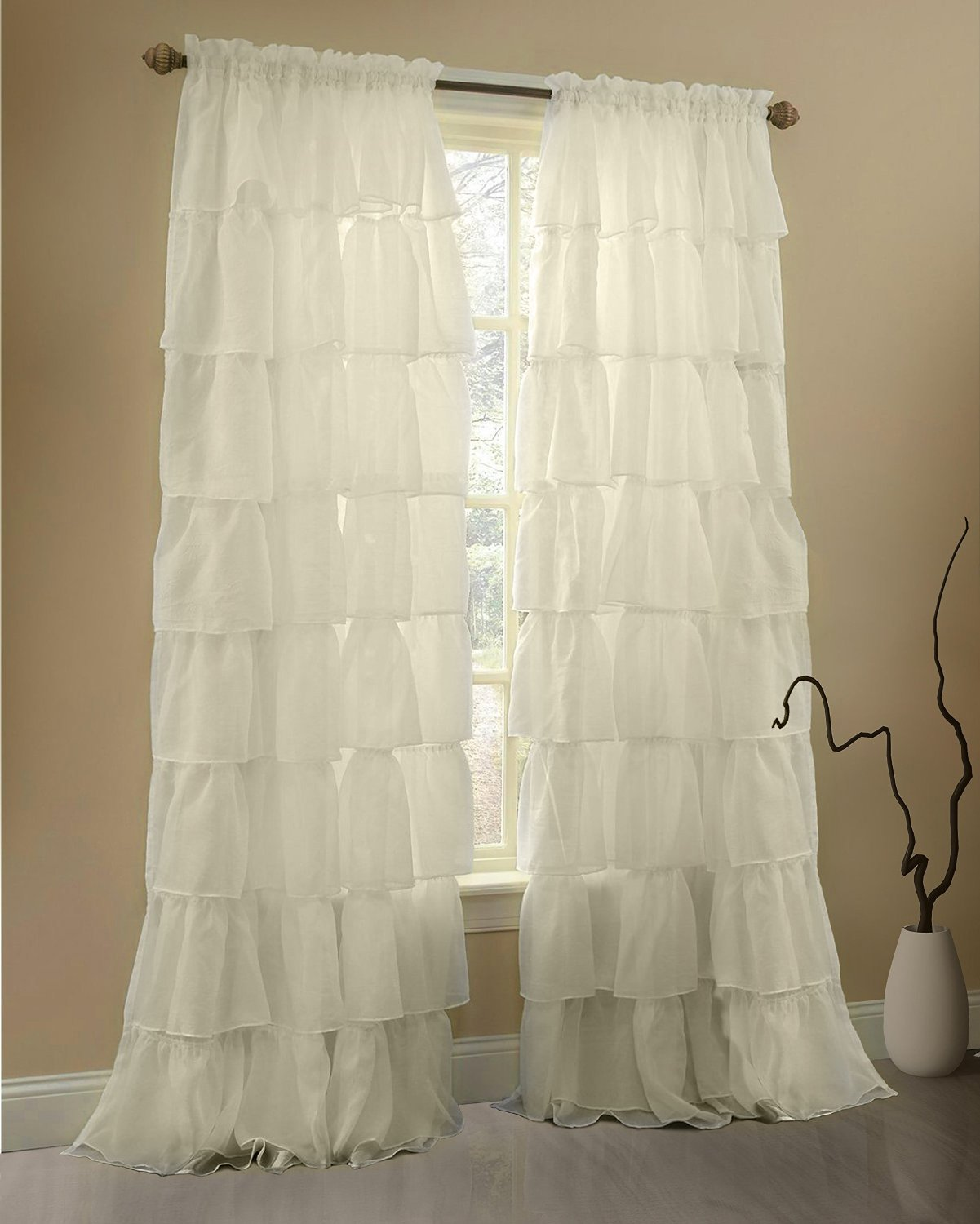 Buy Gee Di Moda Ruffle Curtains Rod Pocket Window Curtains