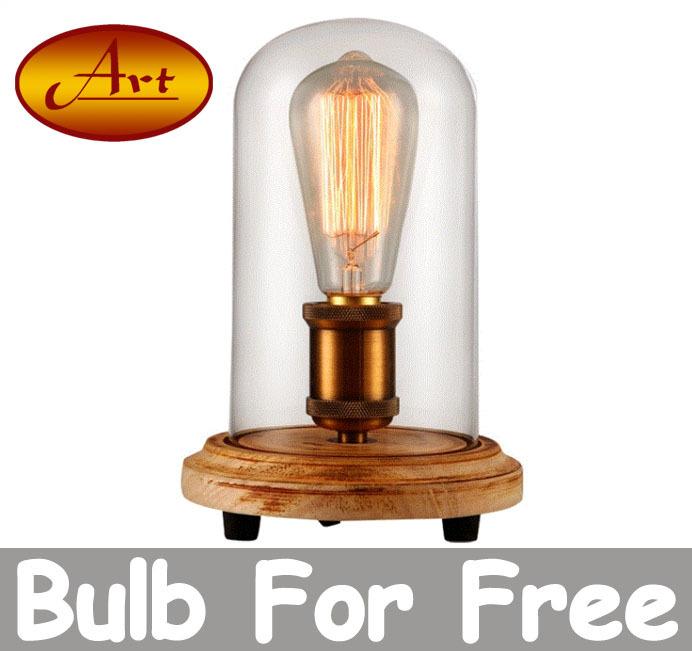 modern bedside table lamp with wood base e27 110v 220v clear glass lampshade table light for. Black Bedroom Furniture Sets. Home Design Ideas