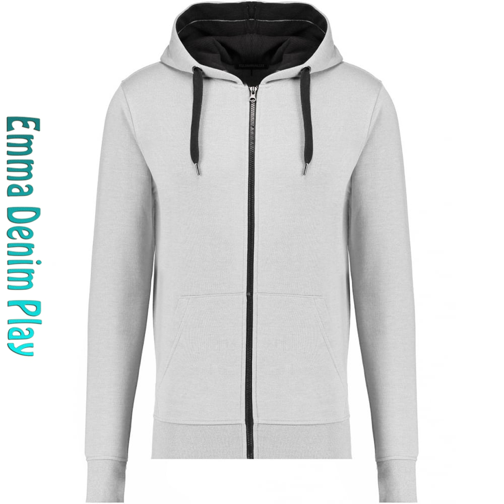 2017 Mens Plain White Basic Zip Through Hoodie Wholesale