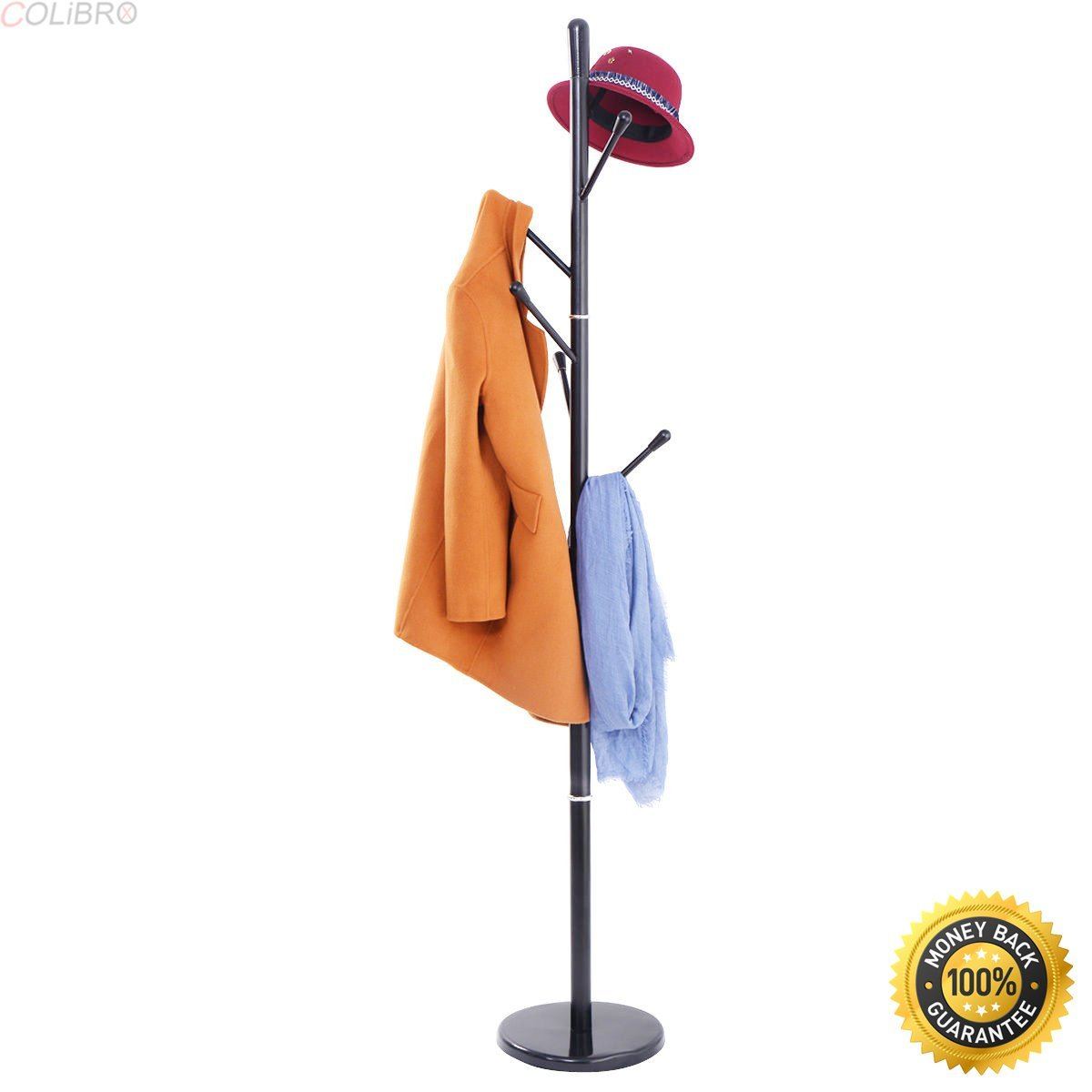 COLIBROX--Metal Coat Rack Hat Tree Stand Clothes Holder Umbrella Bag Hanger Hall Black New,Stylish Coat Rack,Simple Coat Rack,stand coat hanger,modern coat stand,