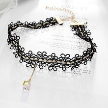 Hot sale choker jewelry women party short chain black lace collar necklace