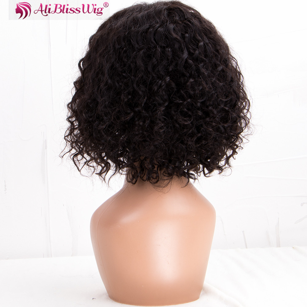 Natural Hairline Curly 10 Inch Middle Parting Human Hair Cuticle Aligned Lace Front Wig For Black Women