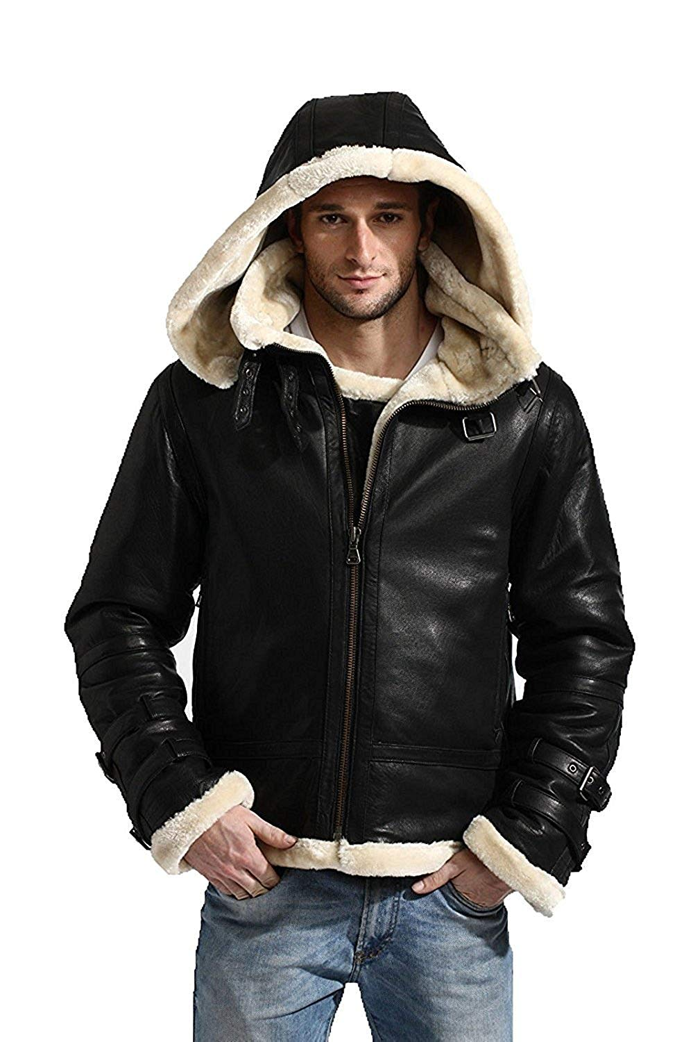 Premium Leather Products B3 Bomber Jacket Leather with Fur Shearling Hoodie Men