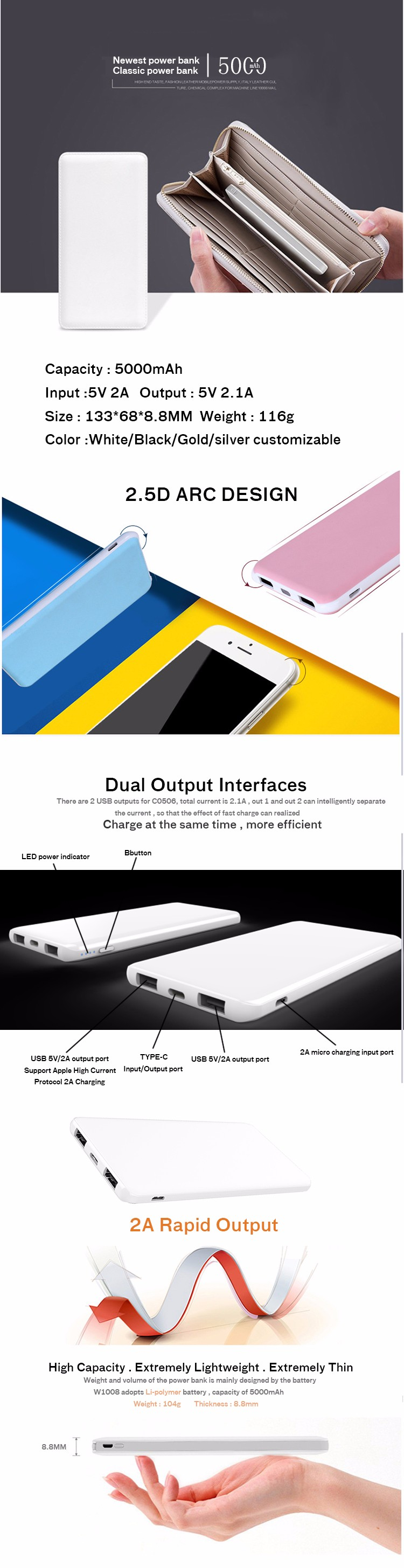 External new battery power bank 5000mah comprtitive price flat power bank