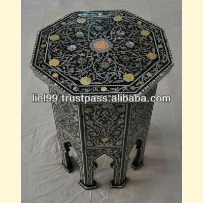 Persian Mother of Pearl Wood Coffee Side Table