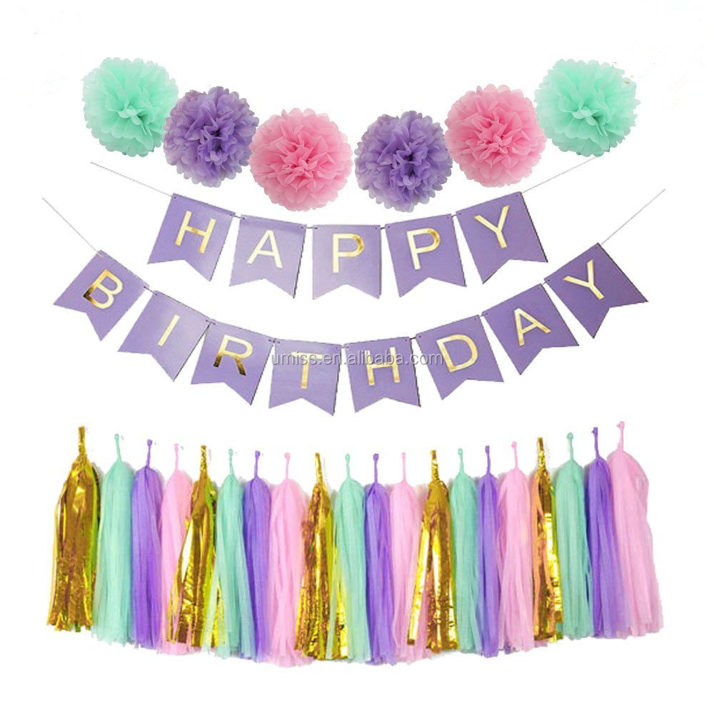 perfect purple happy birthday banner decoration set fluffy pom poms
