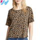 Wholesale Womens Clothing Cotton Top Leopard Print Casual Design T shirt for Ladies