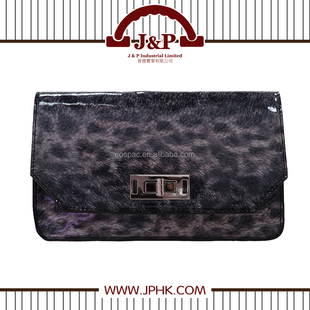 Wholesale Design for ladies Leopard Pattern PVC Material Evening Clutch Bag /Cosmetic Bag with Twist Lock