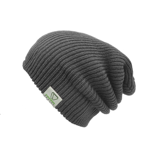 Custom grey/black woven label unisex slouch knitted merino wool beanie hat