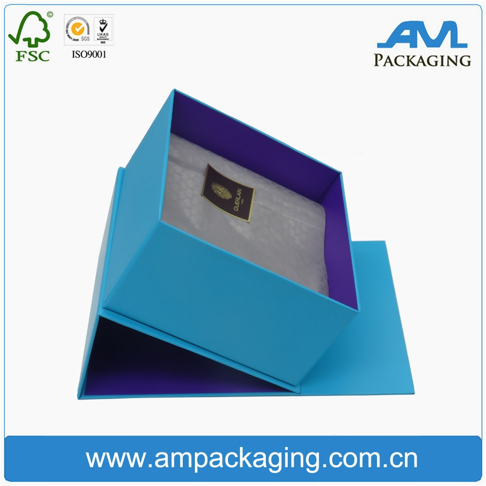 custom logo printed paper upscal jewelry gift box with ribbon bow in Dongguan
