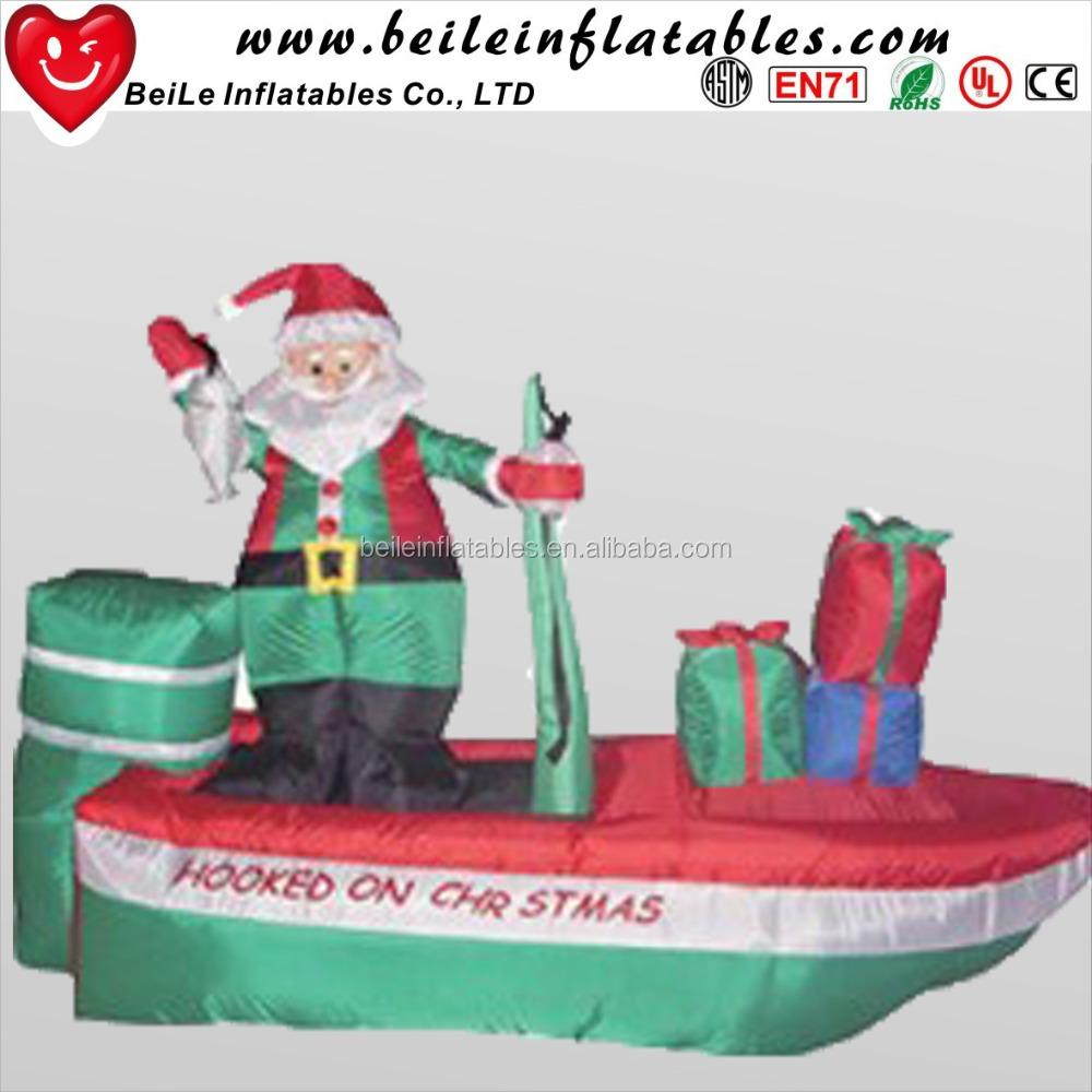 santa claus en un barco de pesca inflable de navidad patio decoracin