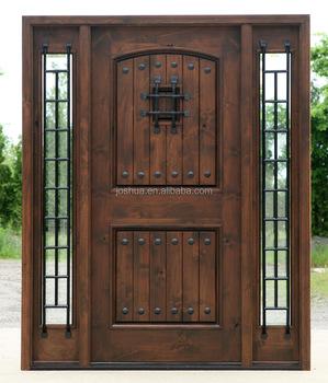 Exceptionnel Rustic European Wrought Iron Door Wood Entry Door
