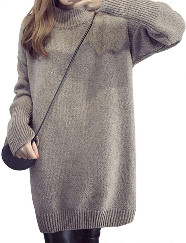 Sanifer Women Oversized Loose Knited Long Turtleneck Sweater Dress