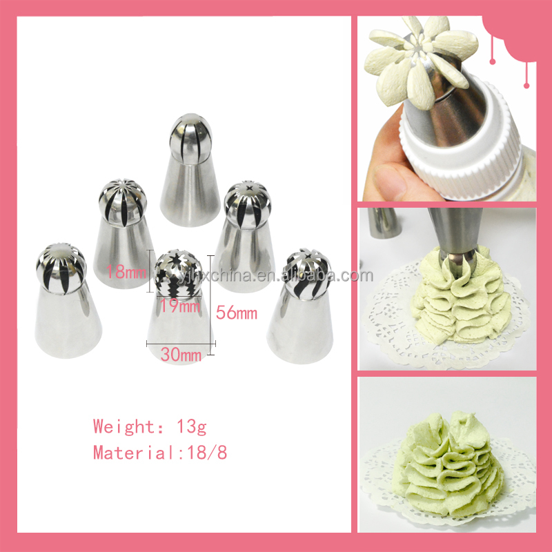 8pcs set Russian Icing Piping Nozzles Cake Decoration Tips with a coupler and pastry bags Home Baking DIY Tool Ball Nozzle Tip