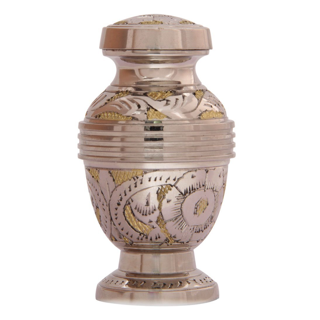 Cheap flower urns outdoors find flower urns outdoors deals on line get quotations silver flower engraved golden keepsake urn small cremation urns ashes izmirmasajfo