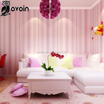 Non-woven Wall Paper Roll Modern Blue/pink Striped Wallpaper For ...