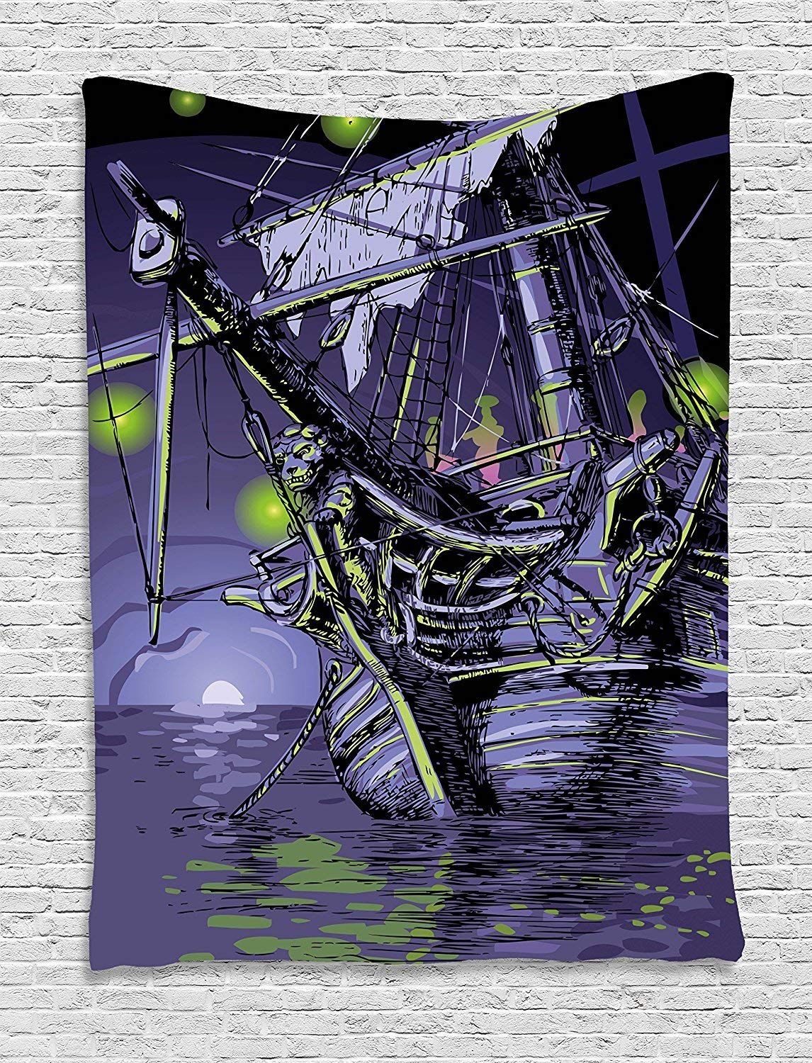 XHFITCLtd Pirate Ship Tapestry, Ghost Ship on Fantasy Caribbean Ocean Adventure Island Haunted Vessel, Wall Hanging for Bedroom Living Room Dorm, 60 W X 80 L Inches, Purple Lime Green
