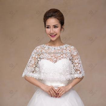 Boat Neck High Quality Y White Lace Brides Cape Bridal Bolero Wedding Jackets Summer Wear Pj1015