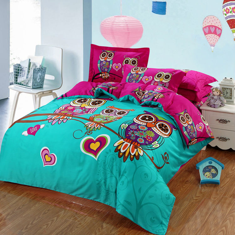 Include Duvet Cover Bedsheet Pillowcase Owl Cartoon 3d
