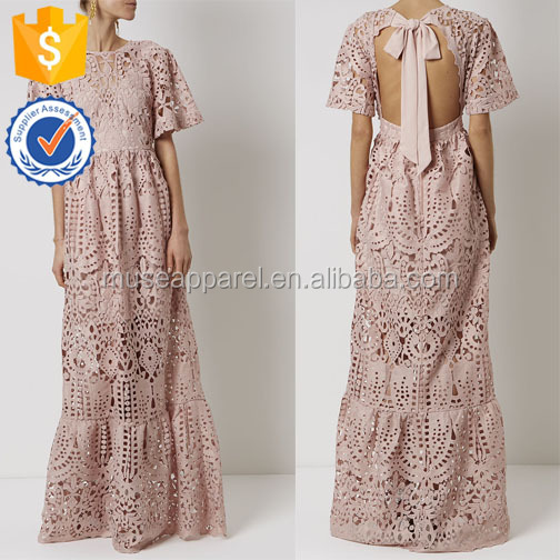 Dusty Pink Lace Tie Neck Gown Dress OEM/ODM Women Apparel Clothing Garment Wholesaler Ropa Mujer