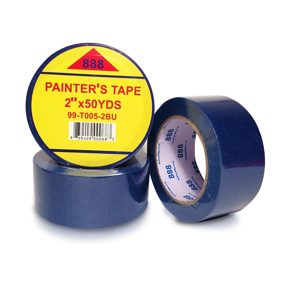 Mg888 3 Pack Blue Painters Masking Tape 2 Inches X 50 Yards Clean
