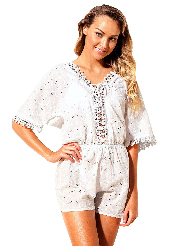 a479e40c563d Get Quotations · Utyful Womens White Lace up V Neck Floral Lace Trim Eyelet Romper  Short Jumpsuit