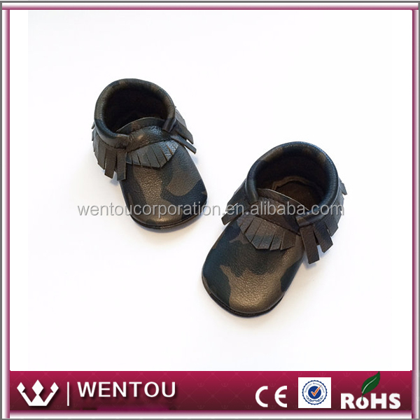 Wholesale Baby Boy Camo Leather Toddler Moccasins