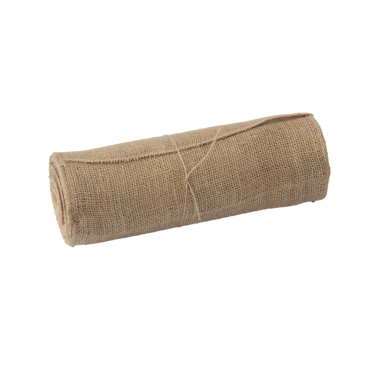 """WELMATCH Jute Burlap Table Runner Roll - Natural 12"""" x 10 Yards Hessian Tablue Runner with Finised Edges Banquet Wedding Party Event Decoration and Crafts (12"""" x 10 Yards,1)"""