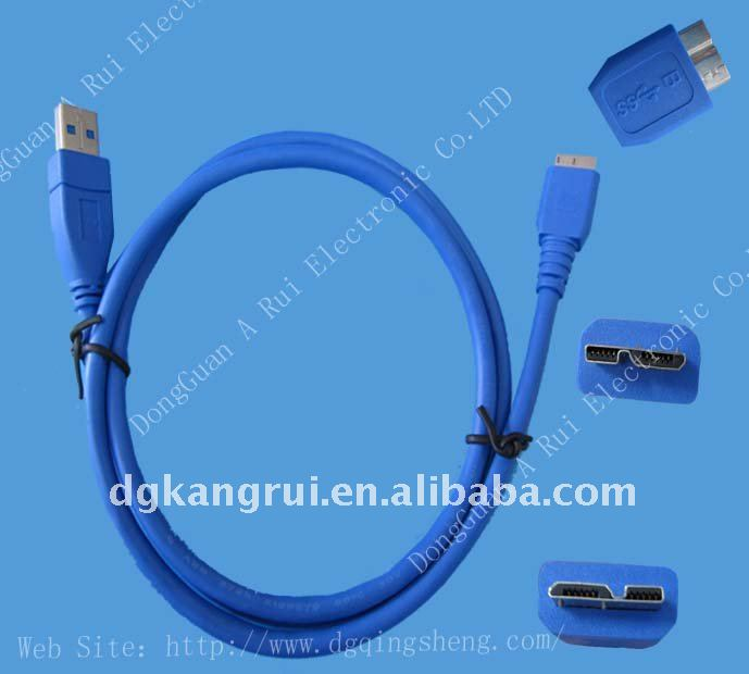micro high-speed USB 3.0 male A to B cable connector
