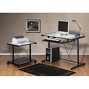 Computer Desk and Printer Cart Value Bundle,WM3148-8DCU, Black Metal and Glass