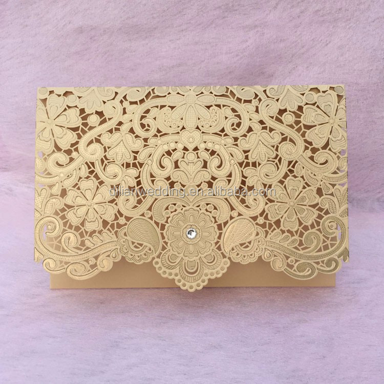 2017 New embossing flower laser cut wedding cards invitation