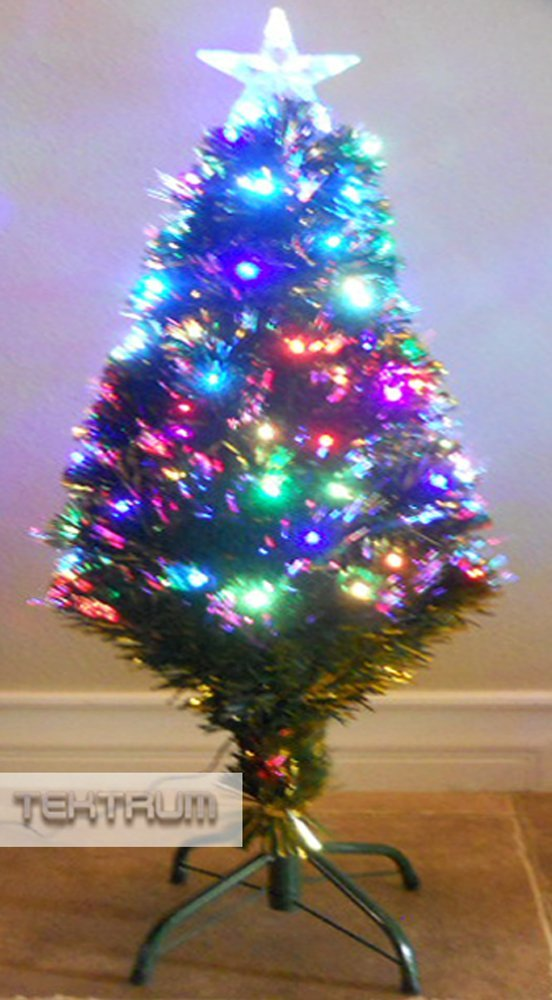 get quotations tektrum 36 christmas rainbow color changing fiber optic lights tree with golden green leaf - Led Christmas Tree Lights That Change Colors