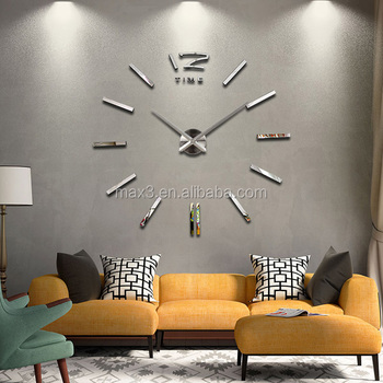 removable 3d diy wall clock adhesive modern for home decorative