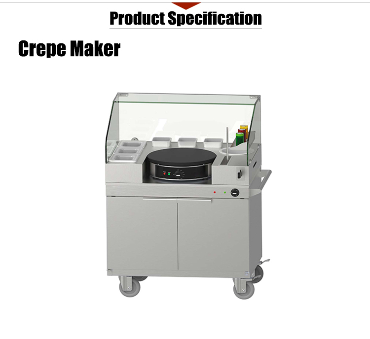 K942 Stainless Steel Crepe Maker Machine With Mobile Servery Station /Outdoor Snack Equipment