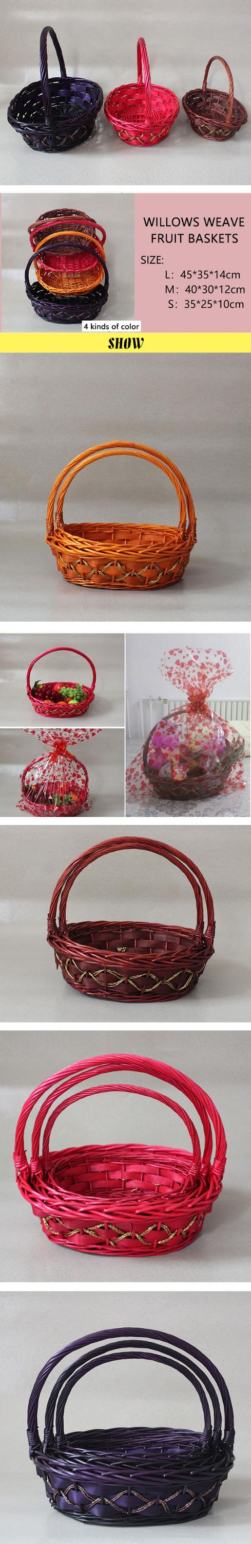 Wicker gift basket handmade wood chip fruit basket with handle set of 3