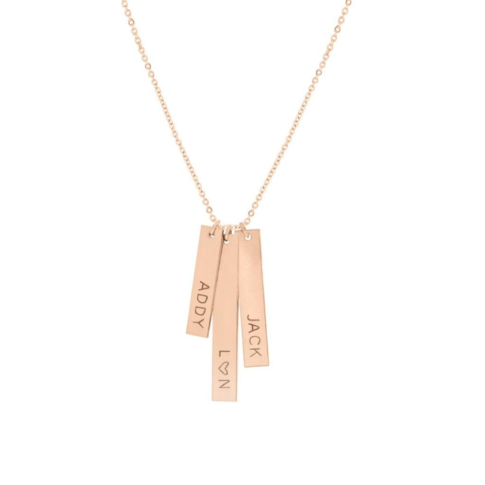 Wholesale Personalized Engraved Initial Letter Bar Custom Name Plate Necklace